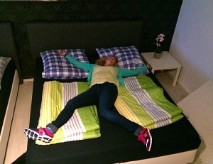 A REAL BED!!!!!! And, how cute are my new running shoes?!