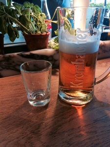 Typical.  My water glass next to my beer. #iloveeurope